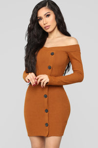 Making An Appearance Mini Dress - Cognac Angle 1