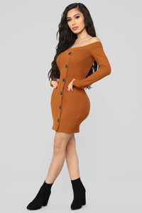 Making An Appearance Mini Dress - Cognac Angle 3