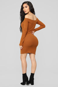 Making An Appearance Mini Dress - Cognac Angle 4