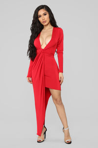 Someone To Love Asymmetrical Mini Dress - Red