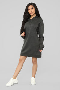 Erin Pullover Hoodie Dress - Charcoal