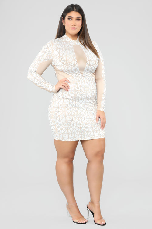 White and Gold Plus Size Dresses