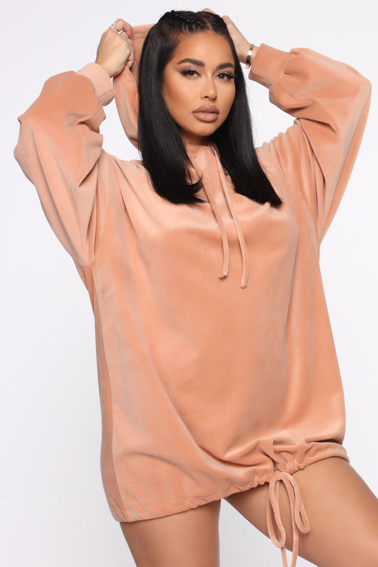 Finish Those Grands Sweatshirt Mini Dress - Nude