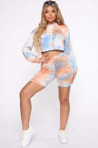 Chicago On Tie Dye Short Set - Orange/combo Angle 3