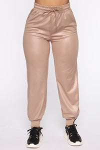 Deep In Love PU Jogger - Taupe
