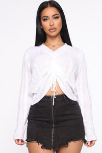 Just Ruched In Sweater - White Angle 1