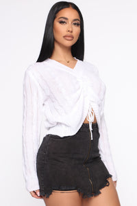 Just Ruched In Sweater - White Angle 3