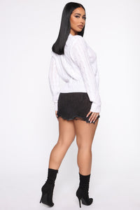 Just Ruched In Sweater - White Angle 5