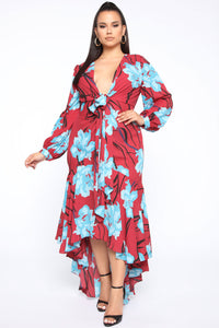 Magic In The Meadow Floral Maxi Dress - Rust/Combo Angle 5