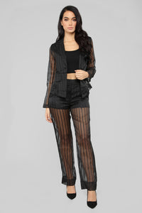 Sheer Seduction Stripe Pant Set - Black Angle 1