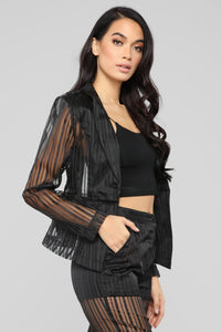 Sheer Seduction Stripe Pant Set - Black Angle 4