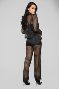 Sheer Seduction Stripe Pant Set - Black Angle 5