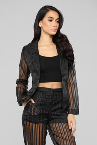 Sheer Seduction Stripe Pant Set - Black Angle 2