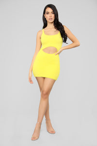 Cut To The Chase Fuzzy Dress - Yellow Angle 2