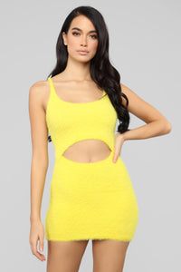 Cut To The Chase Fuzzy Dress - Yellow Angle 1