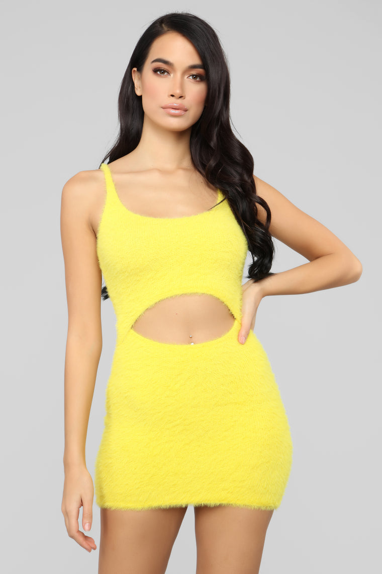Cut To The Chase Fuzzy Dress - Yellow