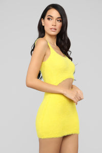Cut To The Chase Fuzzy Dress - Yellow Angle 4