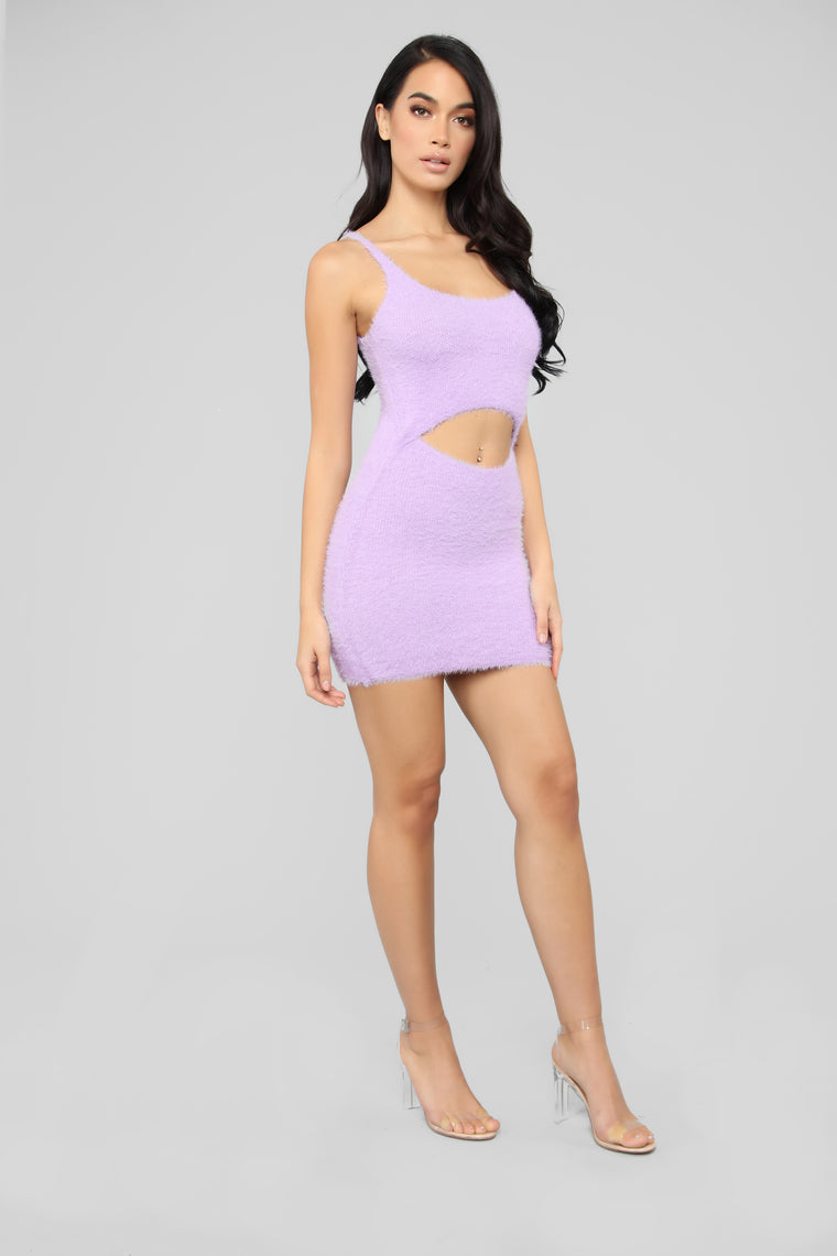 Cut To The Chase Fuzzy Dress - Lavender