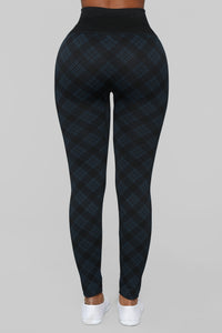 See You Later Plaid Leggings - Black/Blue