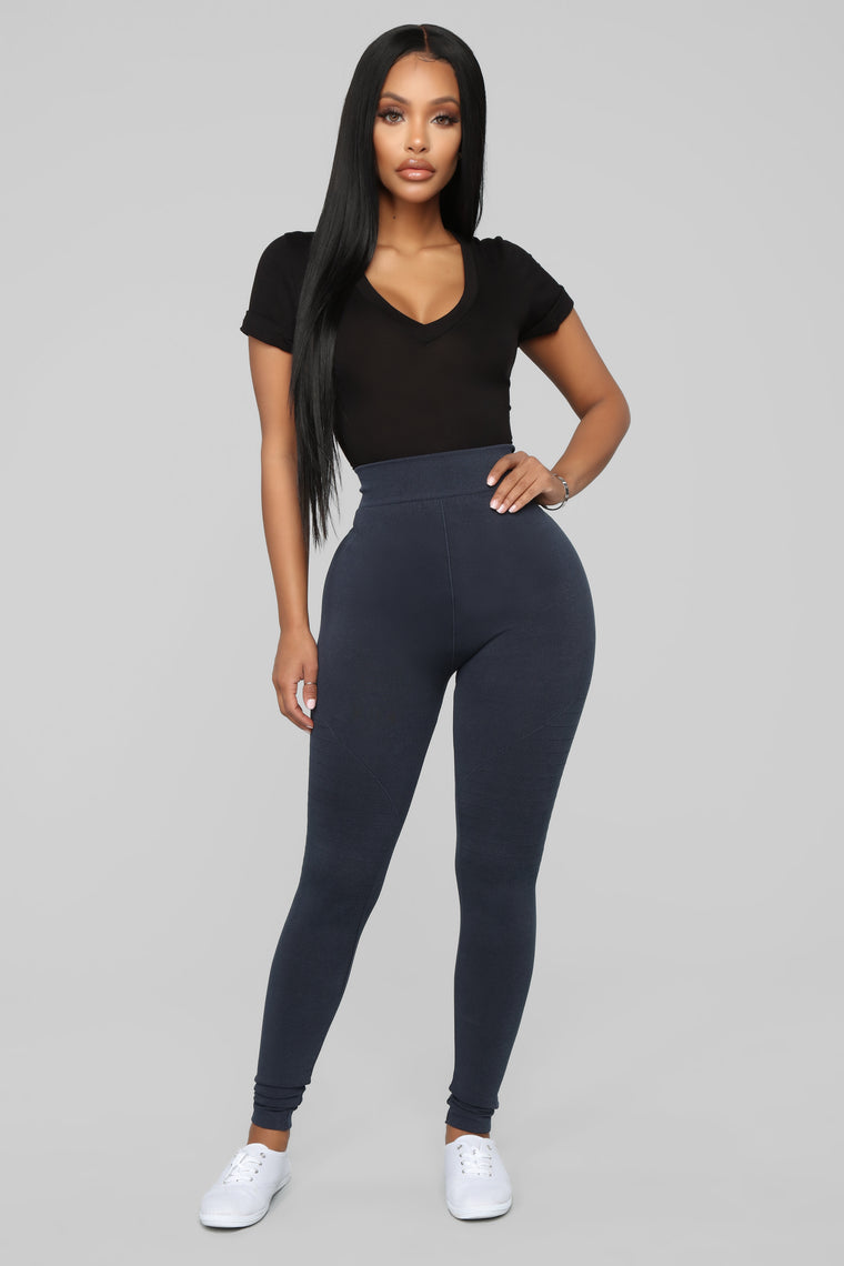 One For The Road Moto Leggings - Navy