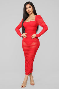 Mesh With His Head Ruched Dress - Red