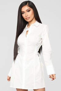 In A Cinch Shirt Dress - White