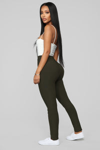 Not Your Average Booty Lifting Leggings - Olive Angle 4