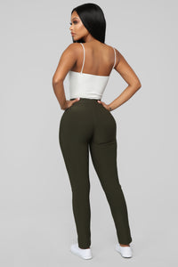 Not Your Average Booty Lifting Leggings - Olive Angle 3