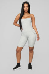 Monae Biker Short Romper   Heather Grey by Fashion Nova