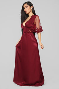 Worth Every Moment Satin Maxi Dress - Wine