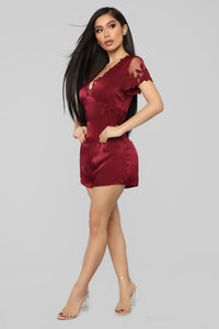 Gimme A Kiss Satin Romper - Wine