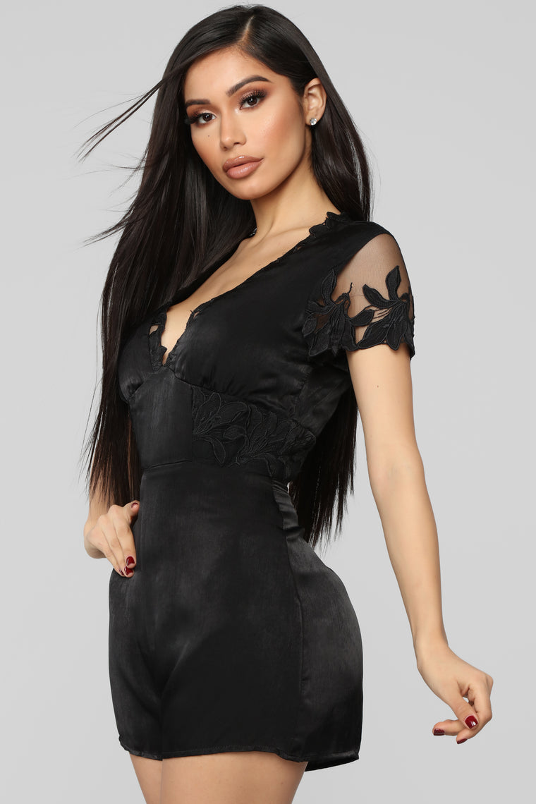 Gimme A Kiss Satin Romper - Black
