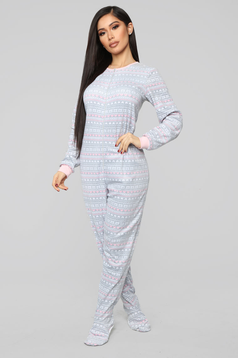 Cuddle Up With Me Pj Onesie - Grey/Combo