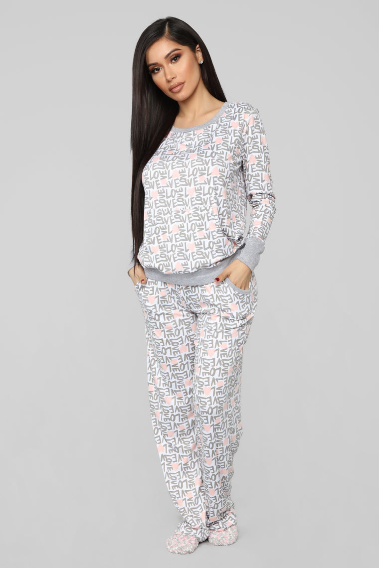 Always In Love 2 Piece PJ Set - Grey