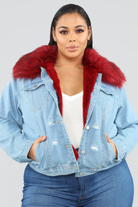 Foxy Fur Denim Jacket - Denim/Red Angle 7