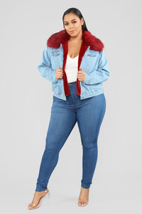 Foxy Fur Denim Jacket - Denim/Red Angle 8