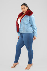 Foxy Fur Denim Jacket - Denim/Red Angle 10