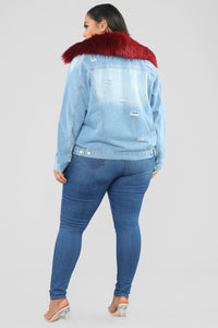 Foxy Fur Denim Jacket - Denim/Red Angle 11