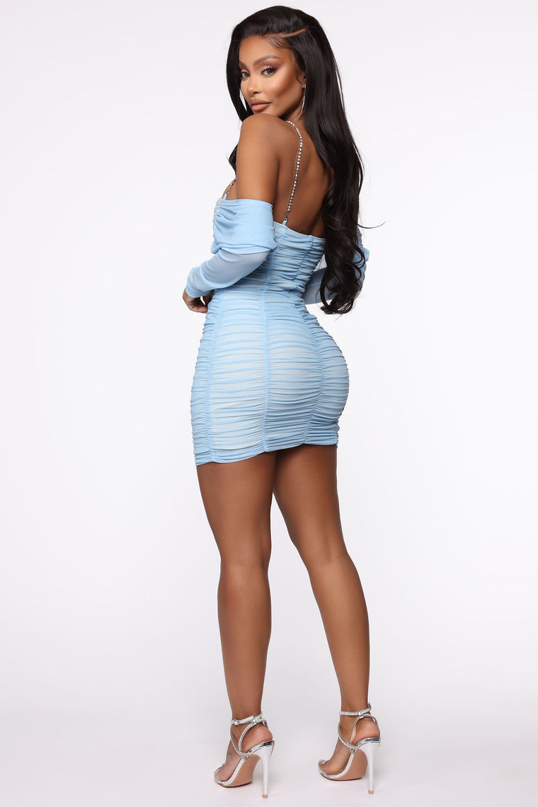 Ella After Party Ruched Mini Dress - Blue