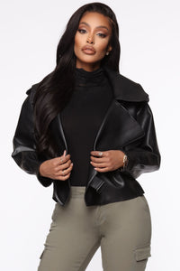 Taking Cover PU Leather Jacket - Black Angle 2
