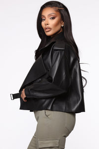 Taking Cover PU Leather Jacket - Black Angle 5