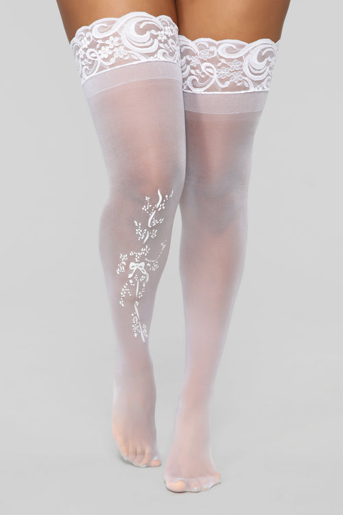 Touch Of Lace Thigh Highs - White