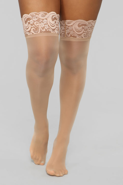 Basically There Lace Thigh Highs - Nude