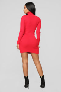 My Favorite Sweater Dress - Red