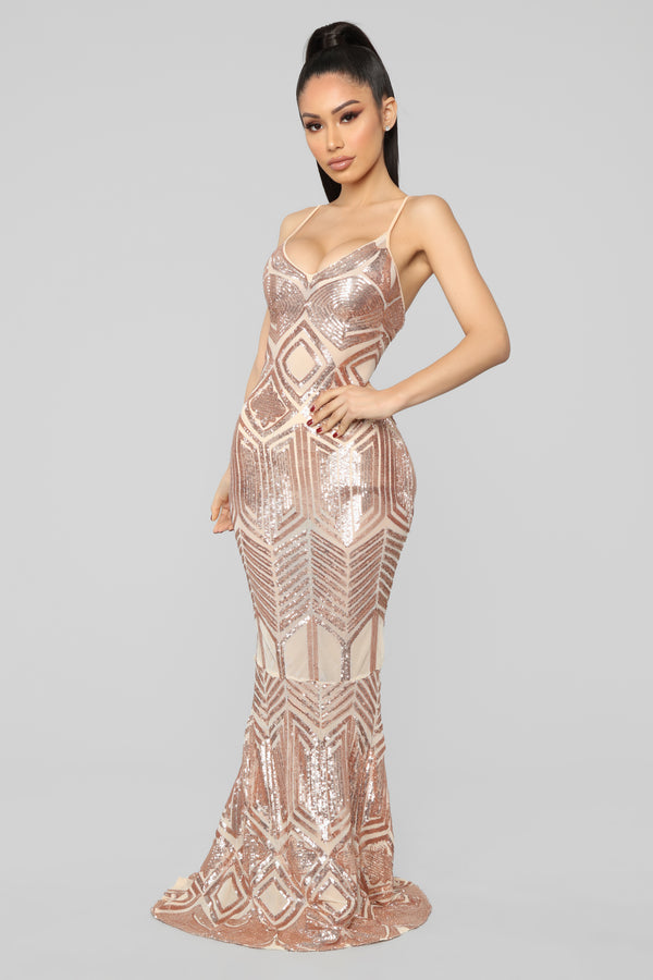 588b01c01fd1b Just Remember Sequin Gown - Nude/Rose