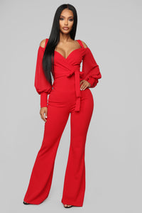 Falling For Your Charm Jumpsuit - Red Angle 1