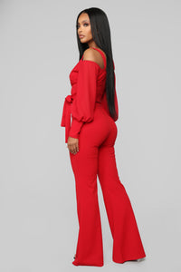 Falling For Your Charm Jumpsuit - Red Angle 3
