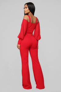 Falling For Your Charm Jumpsuit - Red Angle 4
