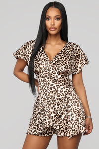 Set The Tone Leopard Romper - Leopard
