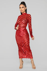 Misbehave Sequin Midi Dress - Red